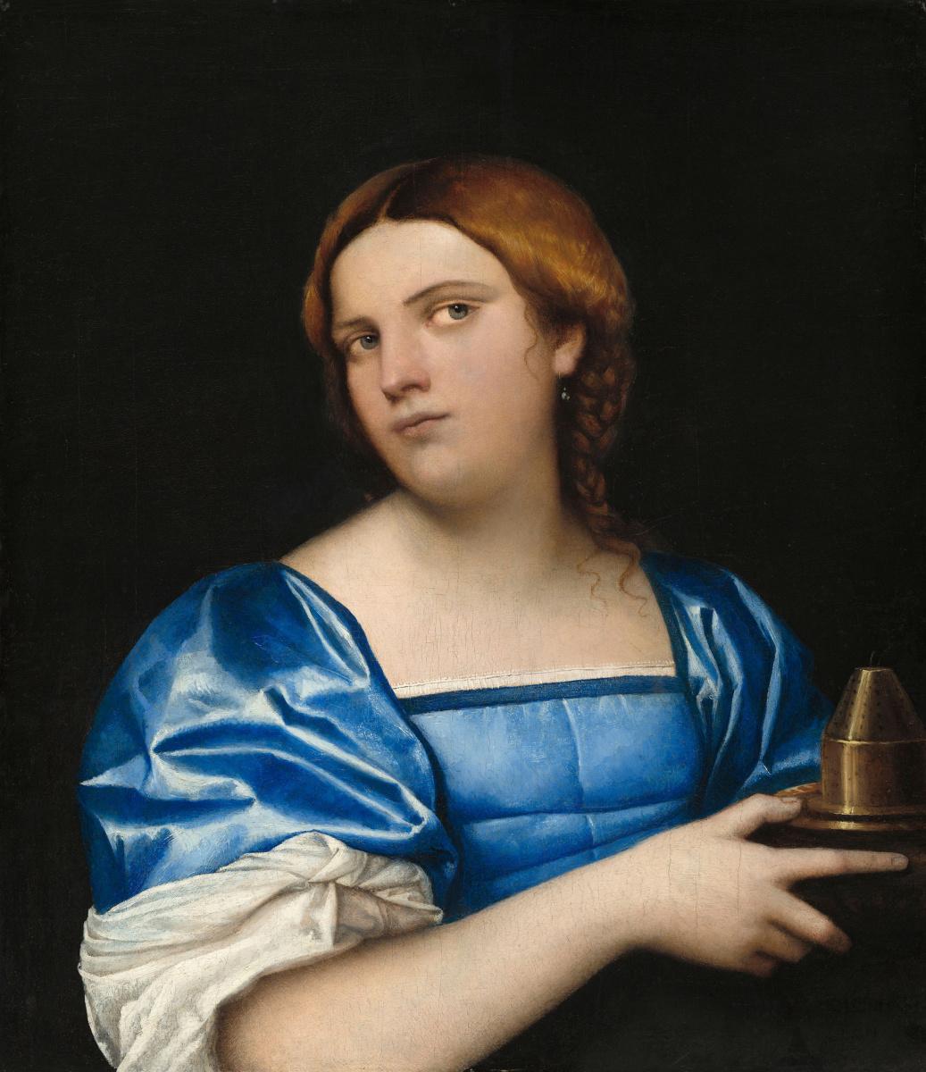 Себастьяно дель Пьомбо. Женщина в голубом с курильницей благовоний