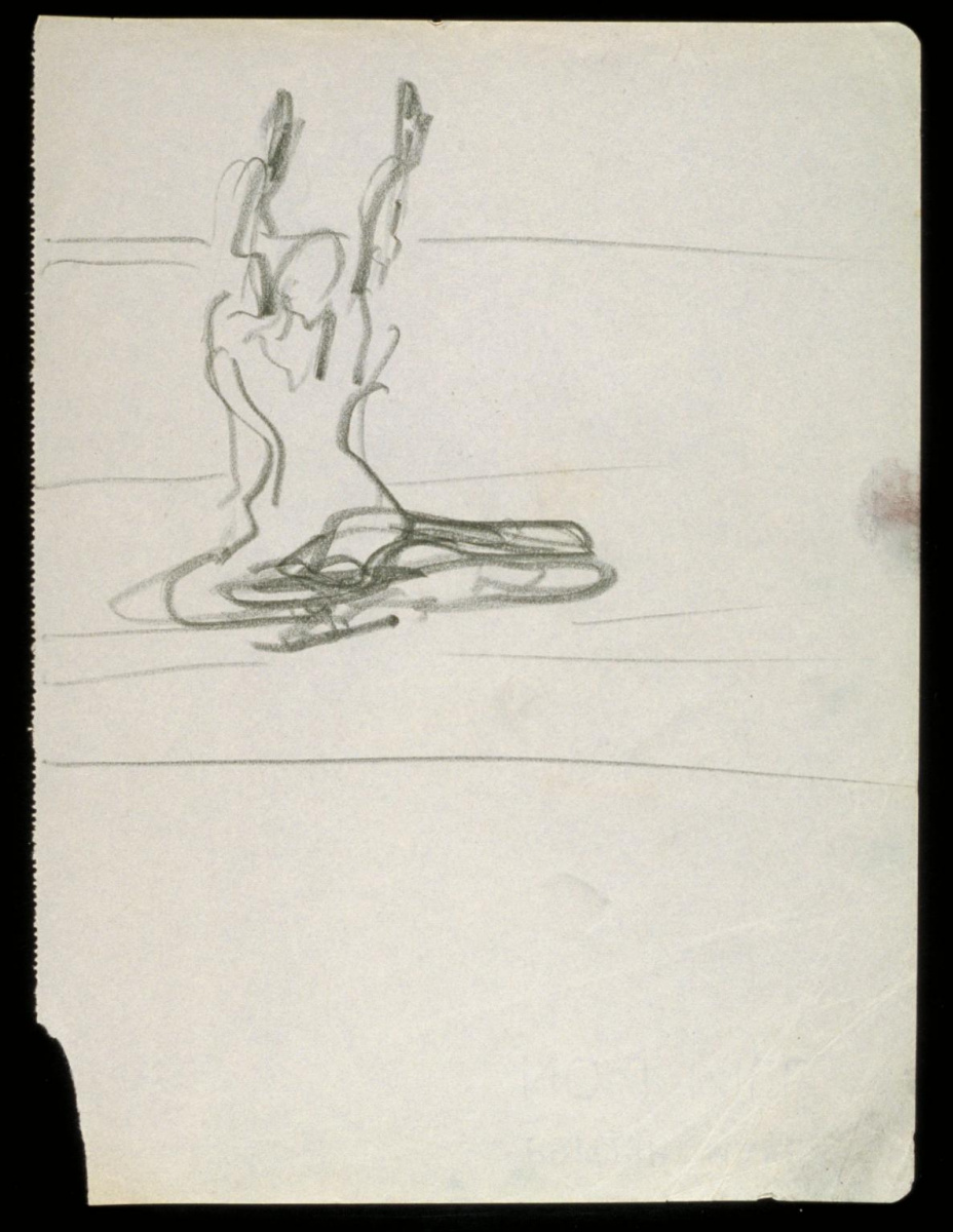 Фрэнсис Бэкон. Фигура со скрещенными ногами и поднятыми руками №1