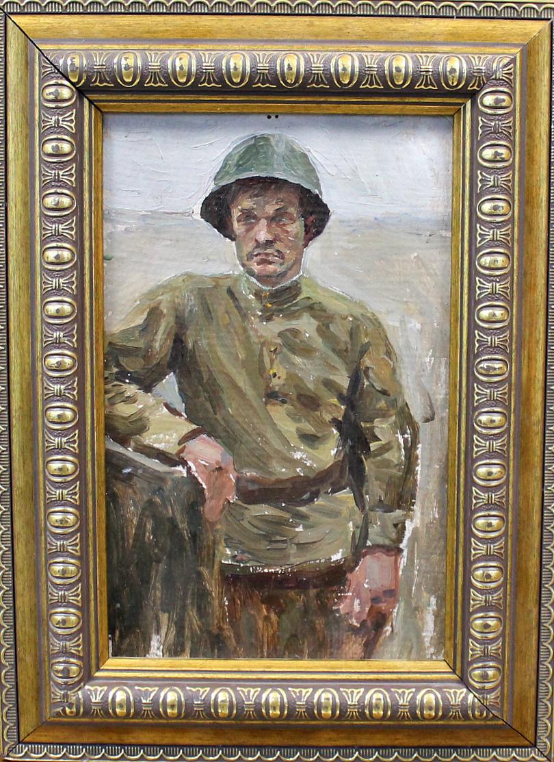 Orest Georgievich Betekhtin. A soldier in a helmet