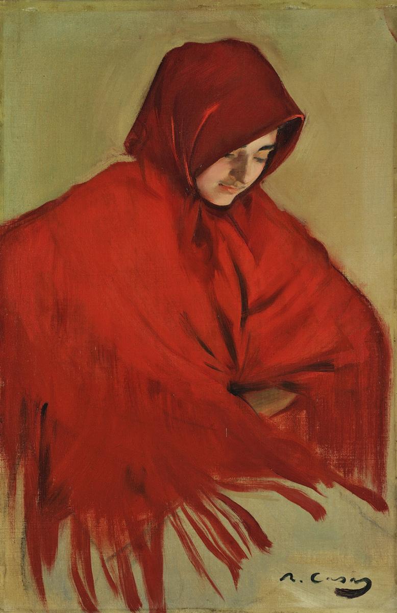 Рамон Касас Карбо. Gypsy with a red shawl