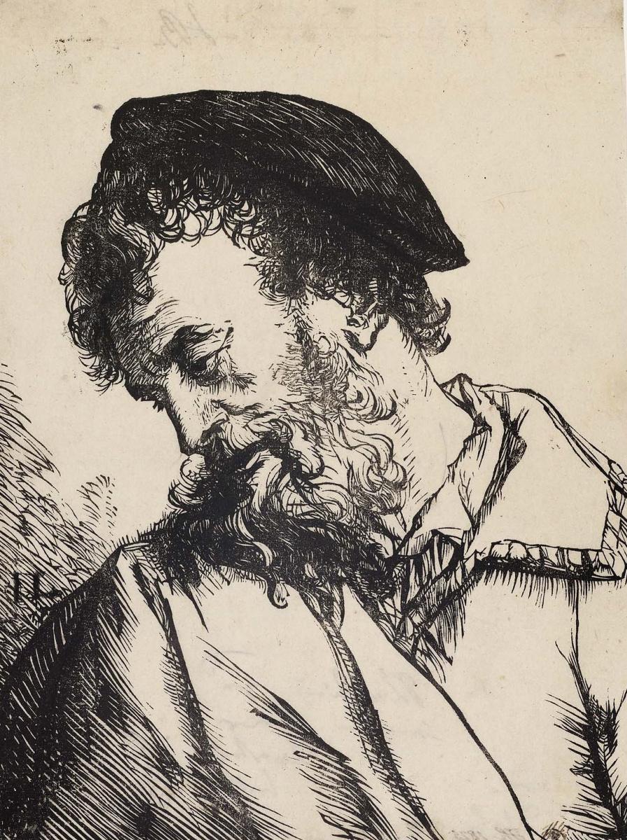 Ян Ливенс. Склонившийся мужчина в берете