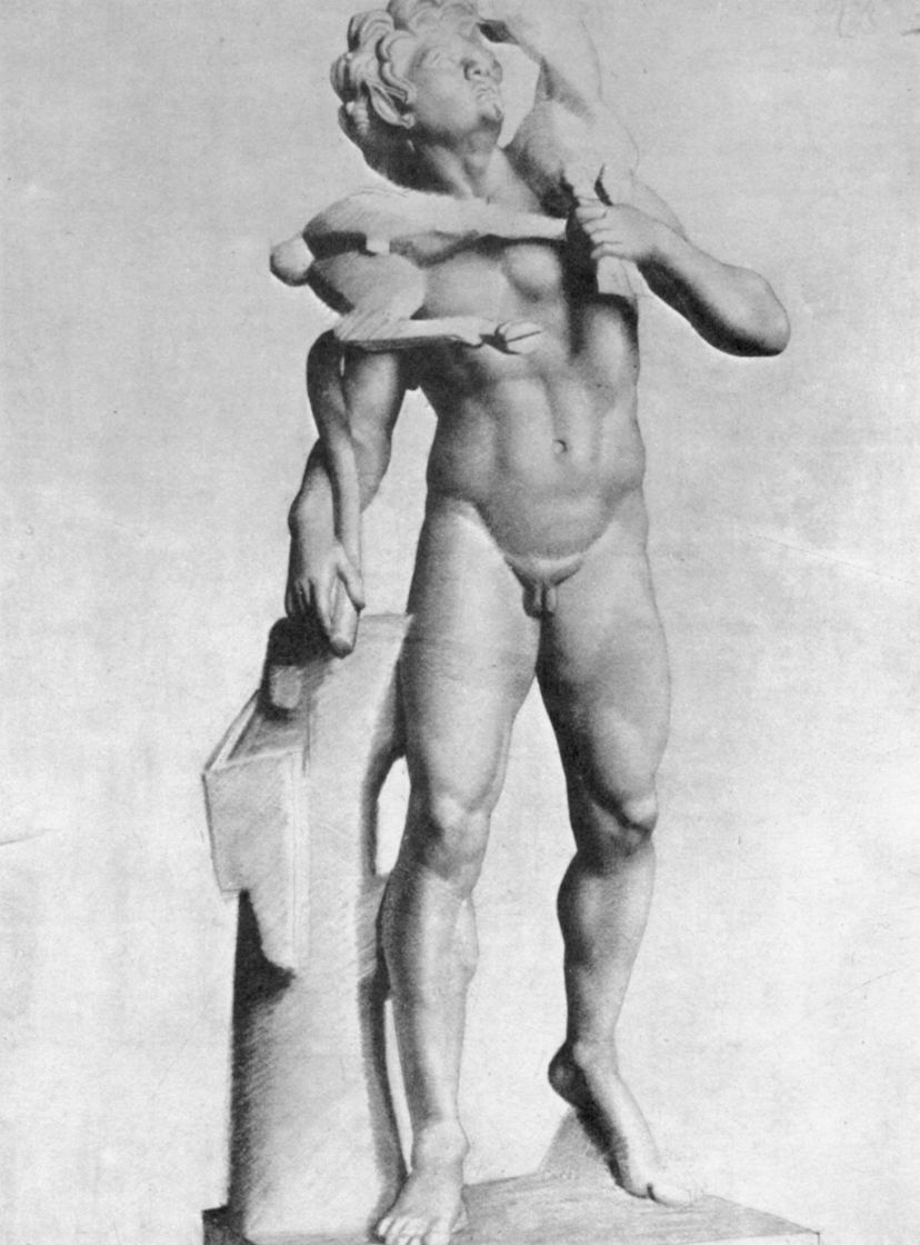 Georges Seurat. Antique statue, Satyr with goat