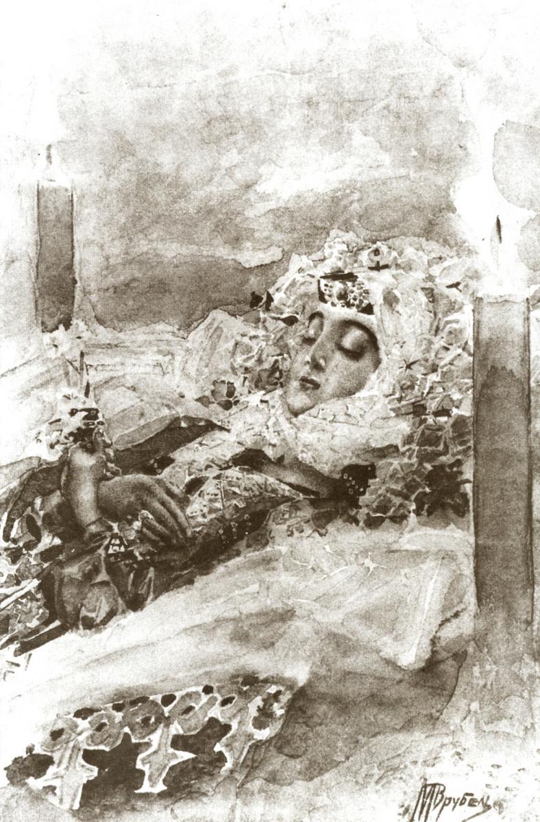 """Михаил Александрович Врубель. Тамара в гробу. Иллюстрация к поэме М.Ю. Лермонтова """"Демон"""""""