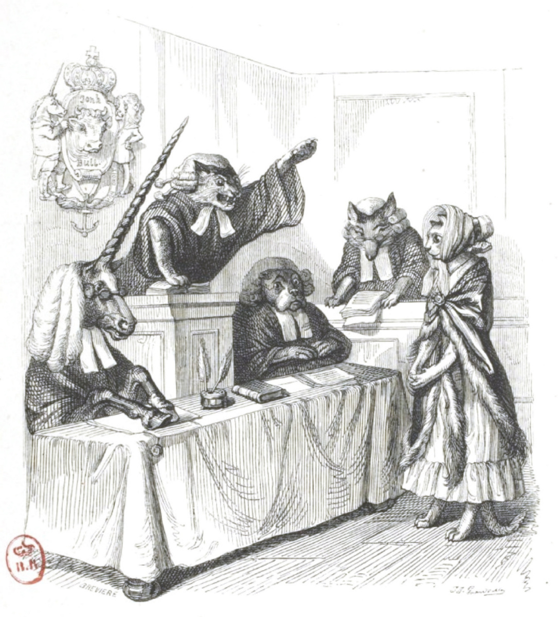"""Jean Inias Isidore (Gerard) Granville. I am an English cat and I am innocent ... """"Scenes of public and private life of animals"""""""