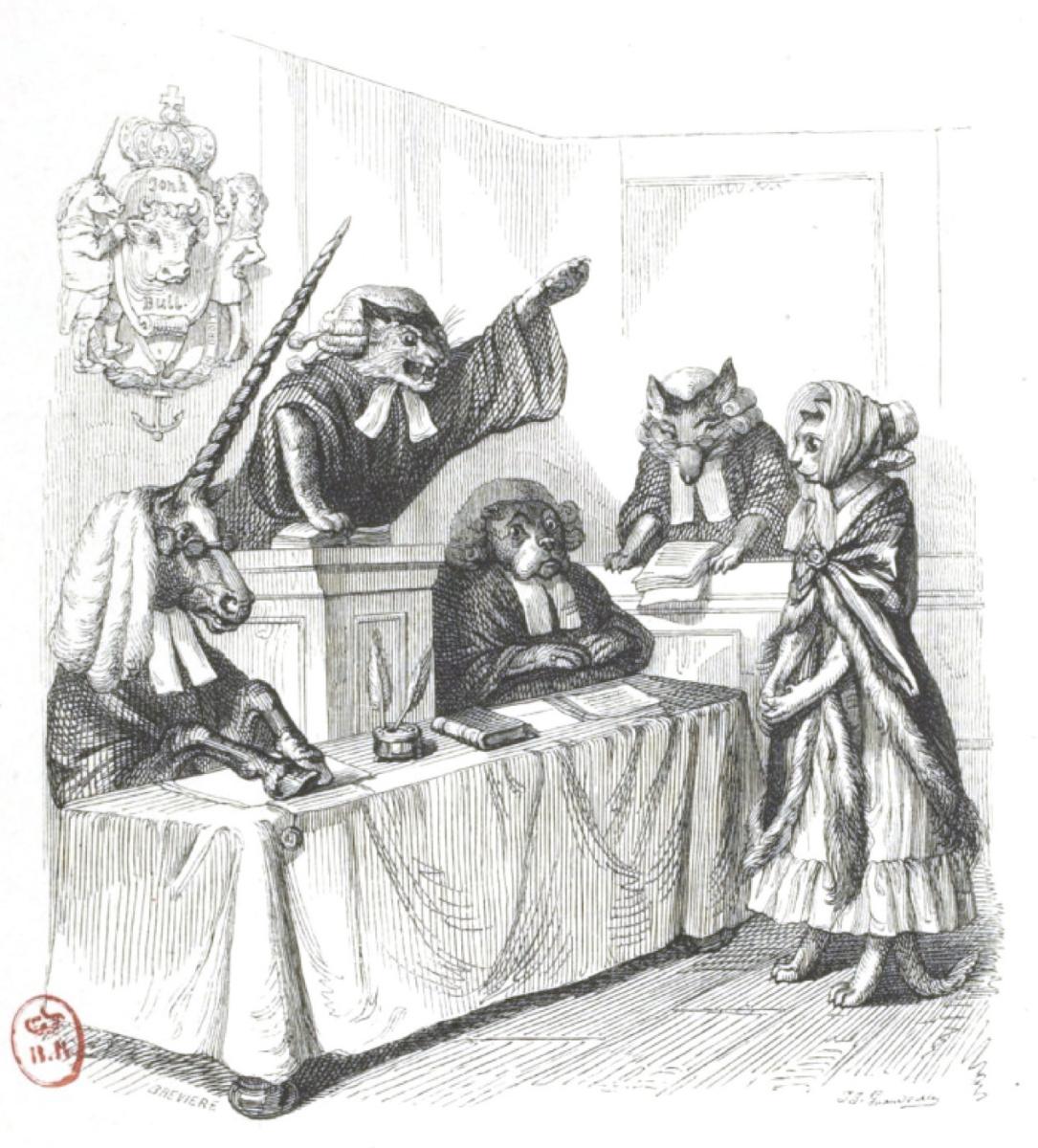 """Жан Иньяс Изидор (Жерар) Гранвиль. Я - английская кошка, и я - невиновна... """"Сцены общественной и частной жизни животных"""""""