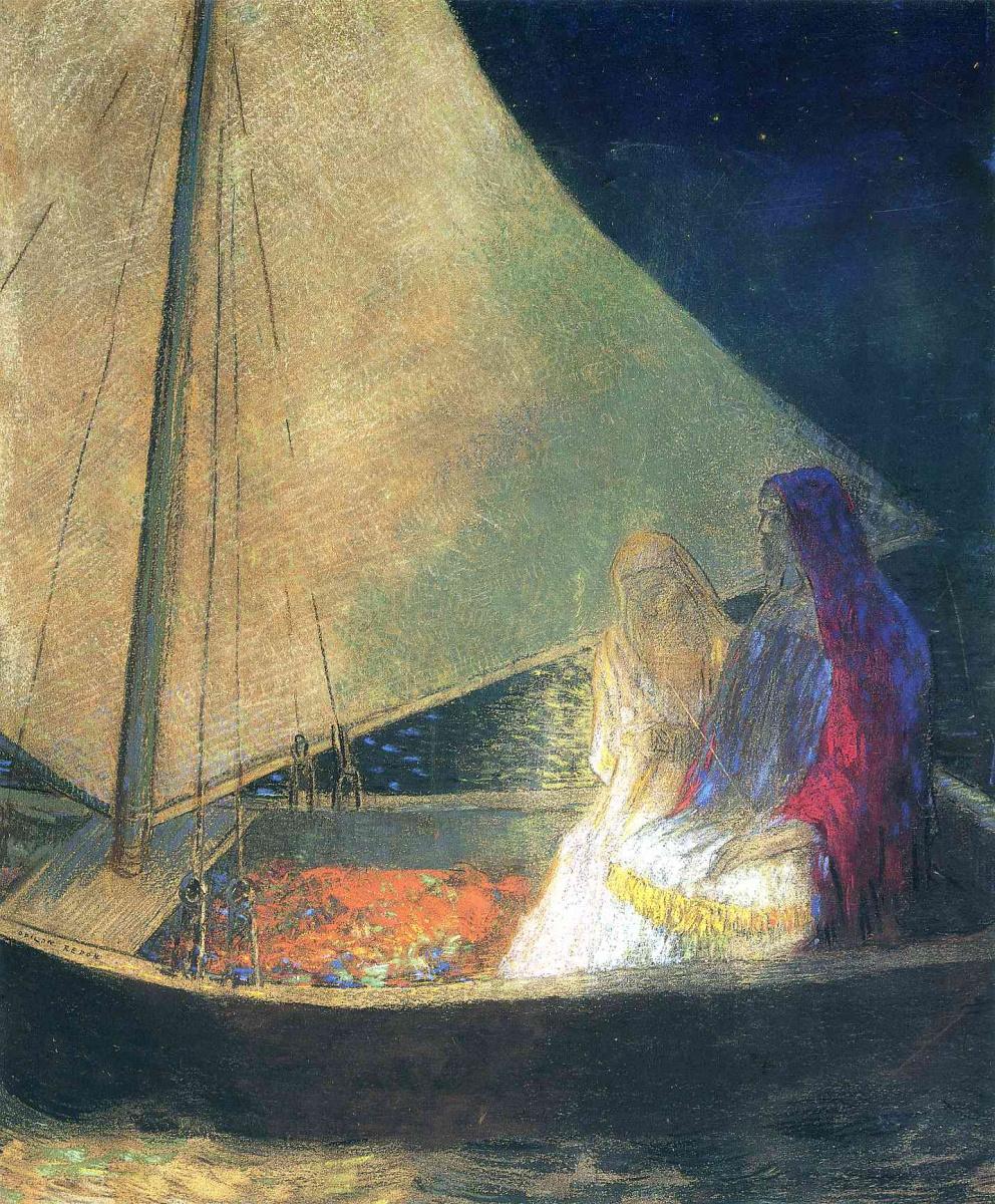 Одилон Редон. Ночь в лодке