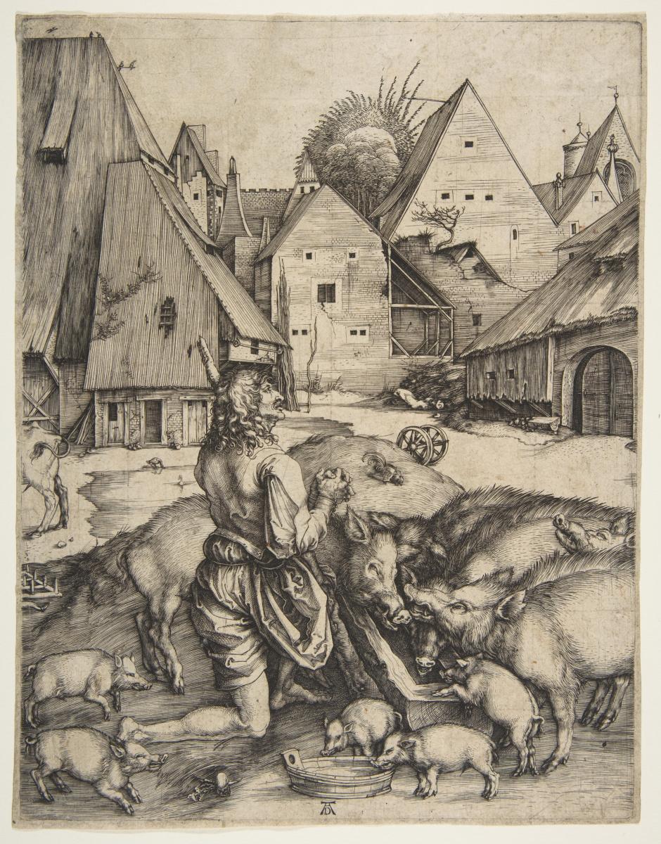 Альбрехт Дюрер. Блудный сын, кормящийся со свиньями