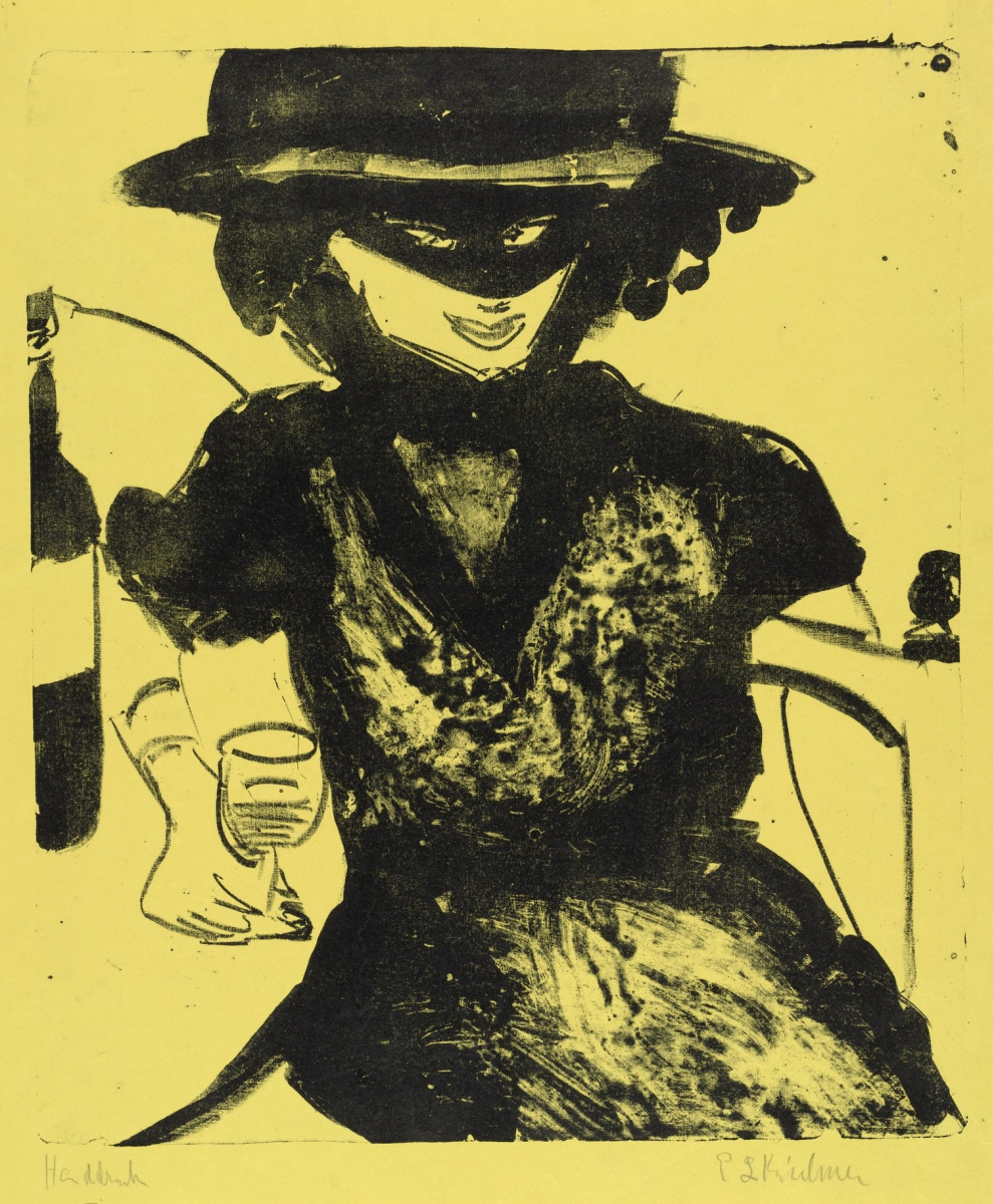Ernst Ludwig Kirchner. Gerty with mask and wineglass