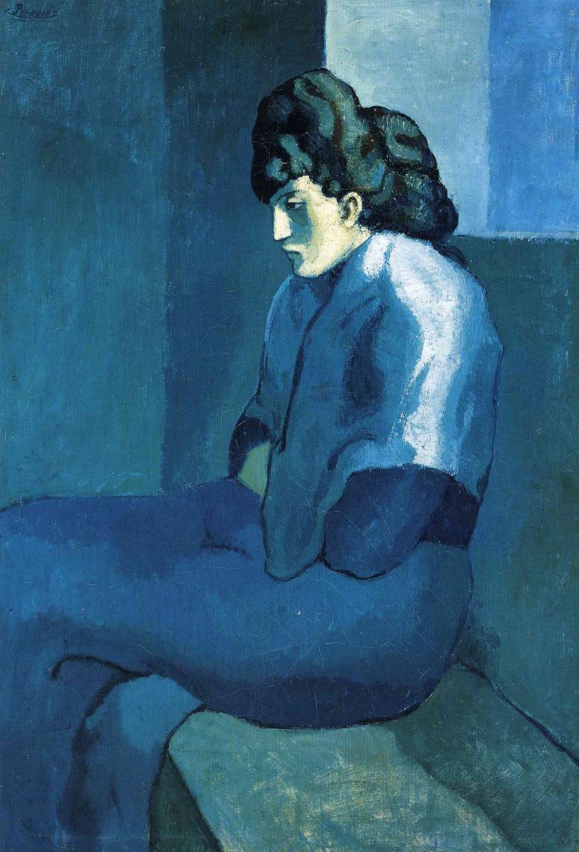 Пабло Пикассо. Сидящая женщина в голубом