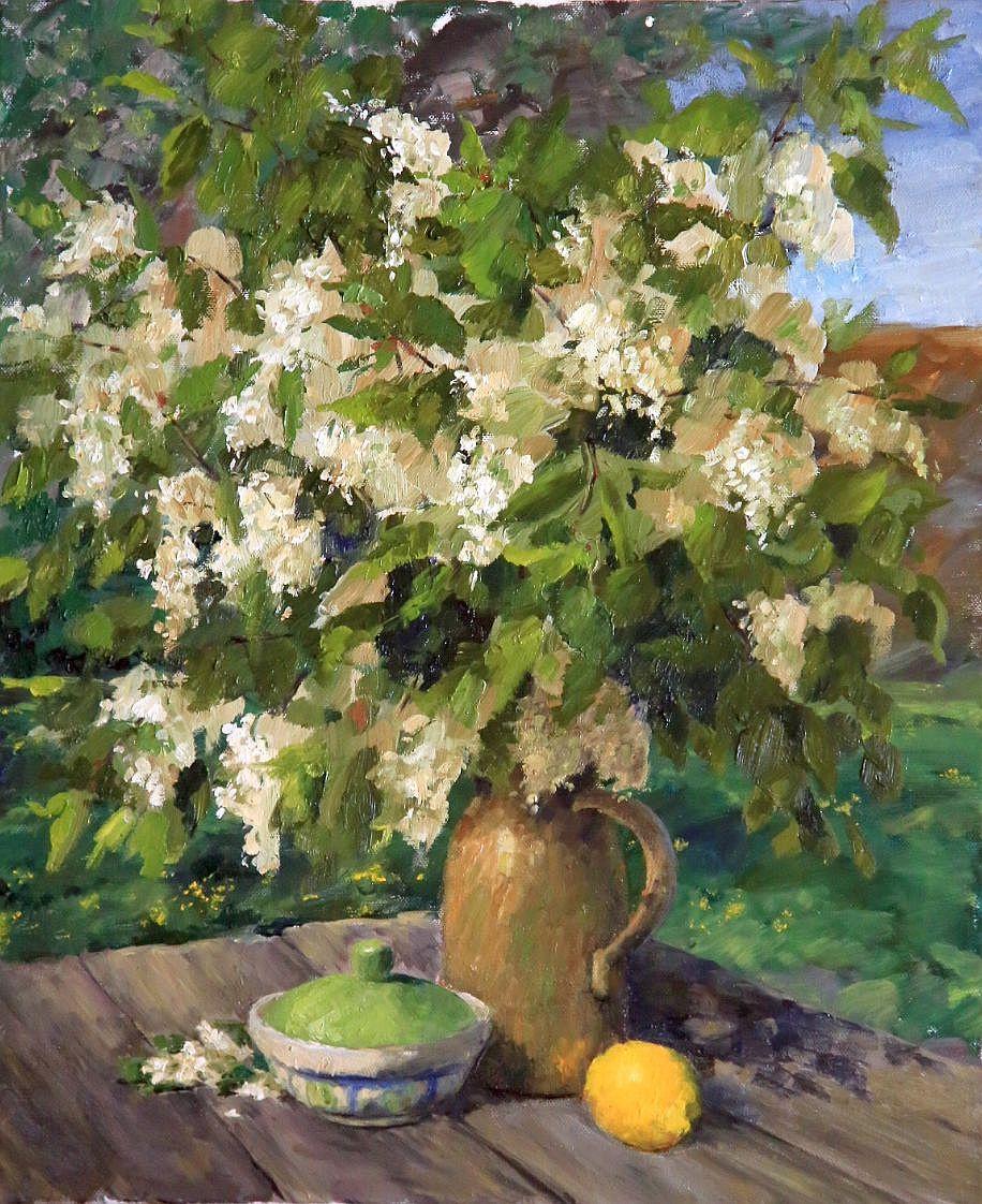 Tatyana Chepkasova. Etude with bird cherries