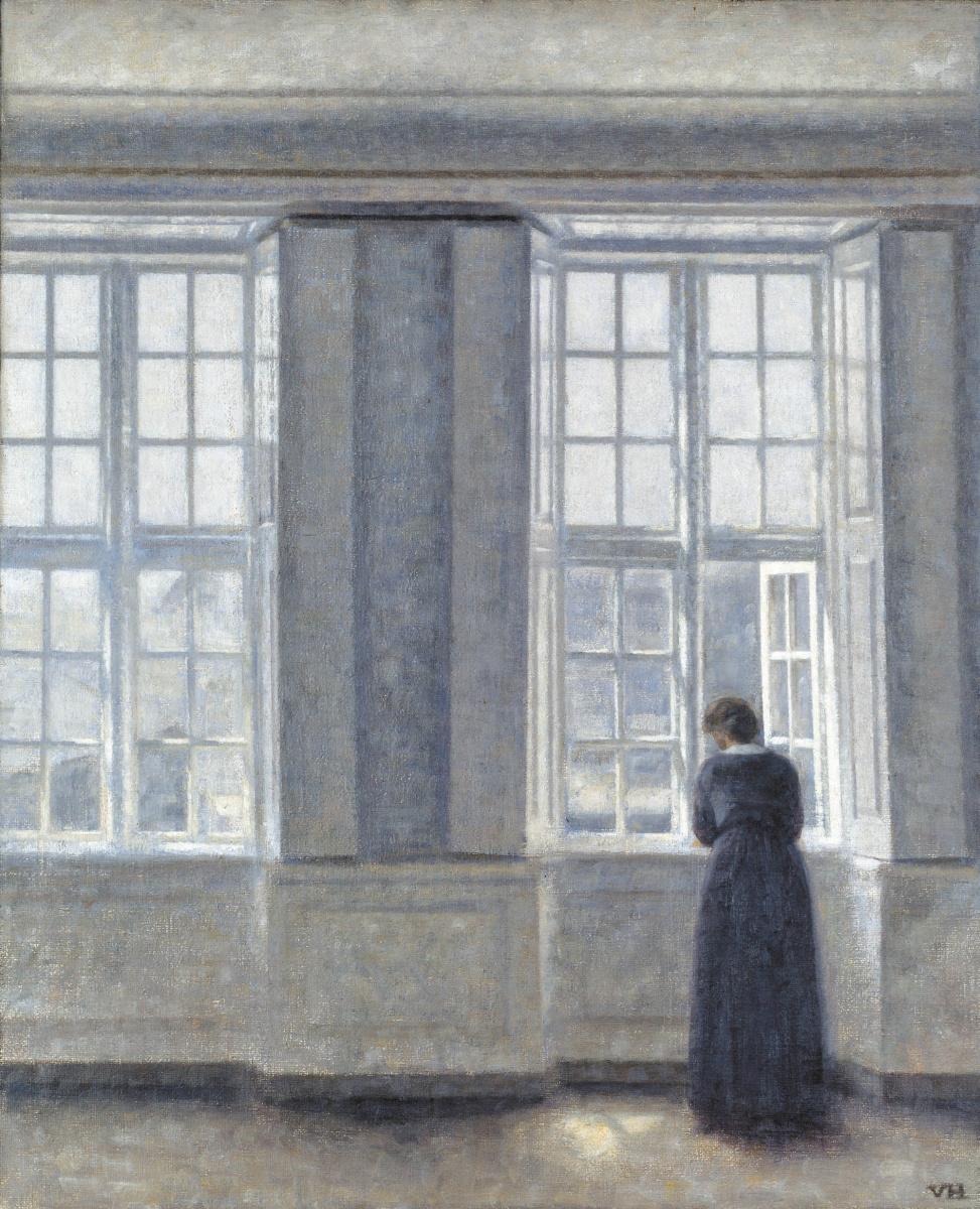 Вильгельм Хаммерсхёй. Женщина у высокого окна