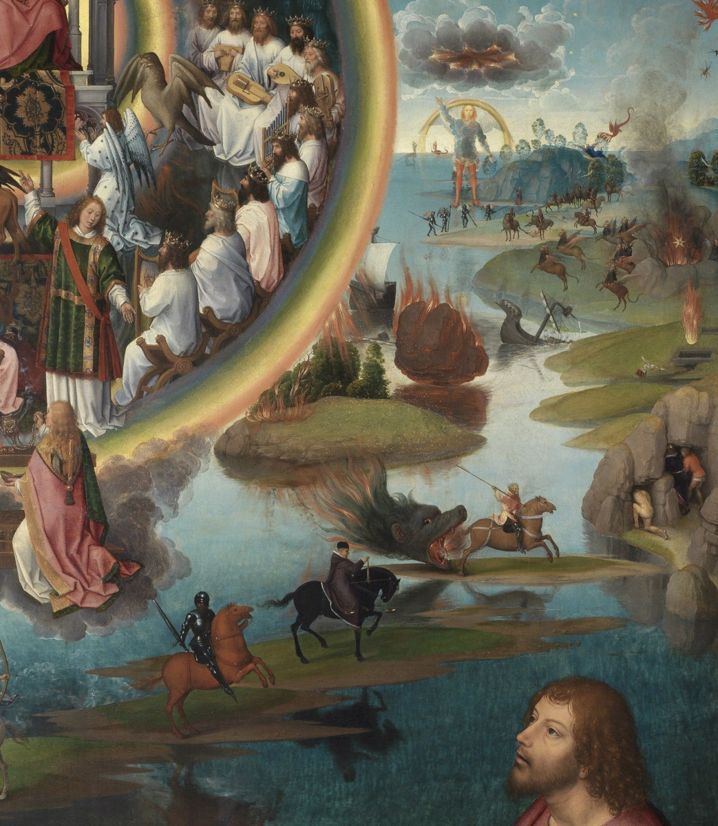Hans Memling. The mystical betrothal of St. Catherine of Alexandria. Triptych. Right wing: Saint John the Evangelist on Patmos. Fragment