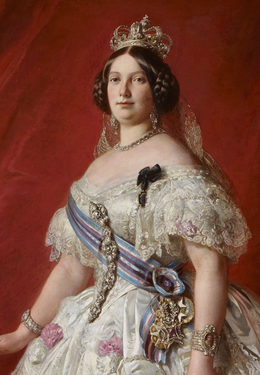 Франц Ксавер Винтерхальтер. Королева Испании Изабелла II со своей дочерью Изабеллой, принцессой Астурии. Фрагмент
