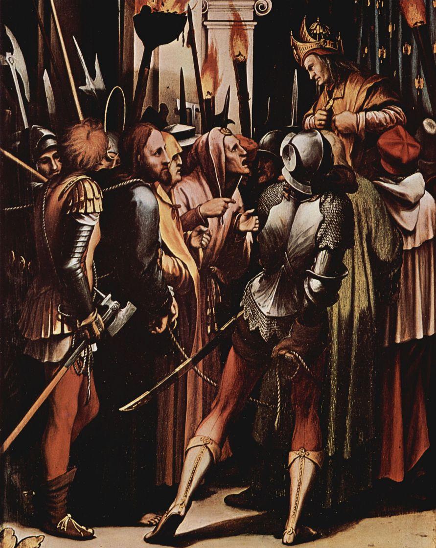 Ганс Гольбейн Младший. Алтарь Страстей Христовых, правая створка внутренняя сторона, сцена вверху: Христос перед Пилатом, деталь