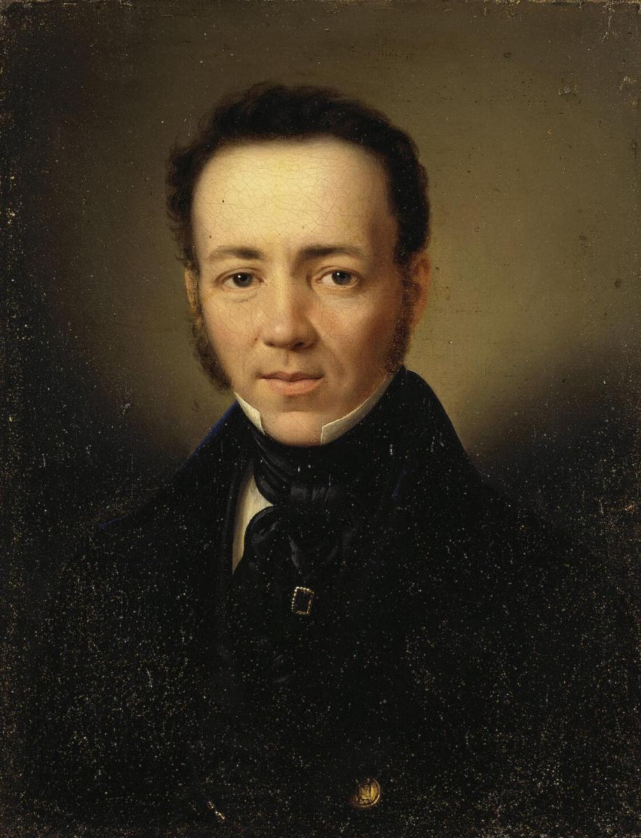 Рудольф Губер. Портрет молодого мужчины в синем сюртуке
