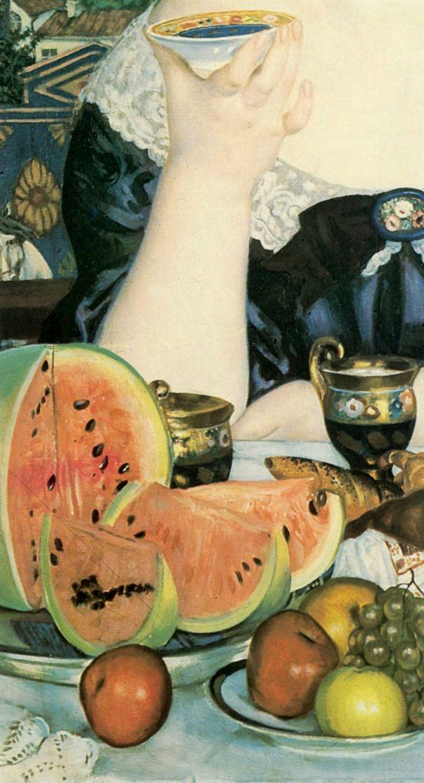 Boris Mikhailovich Kustodiev. Merchant's wife at tea. Fragment