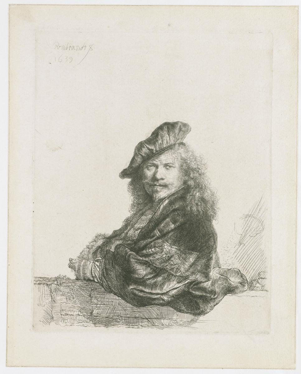 Рембрандт Харменс ван Рейн. Автопортрет художника, облокотившегося на каменный подоконник