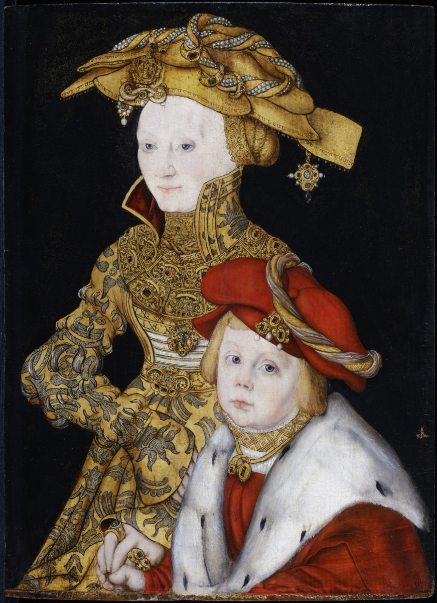 Lucas Cranach the Elder. Portrait of a Lady and her Son