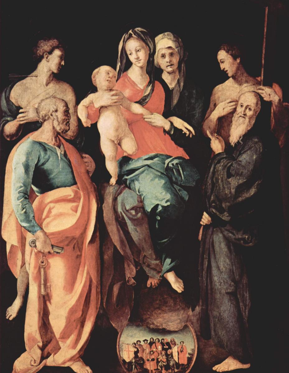 Якопо Понтормо. Алтарь св. Анны. Мадонна со св. Анной. Слева: св. Себастьян и апостол Петр. Справа: апостол Филипп и св. Бенедикт
