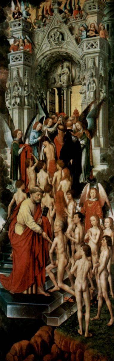 Ганс Мемлинг. Страшный суд, триптих, левая створка, внутренняя сторона: св. Петр во вратах рая встречает праведников