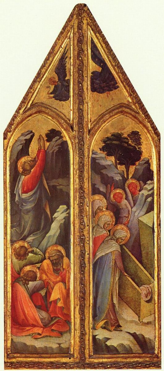 Лоренцо Монако. Христос в Гефсиманском саду и Три Марии у гроба Господня