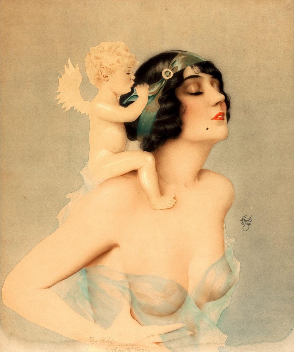 Альберто Варгас. Девушка с ангелом.