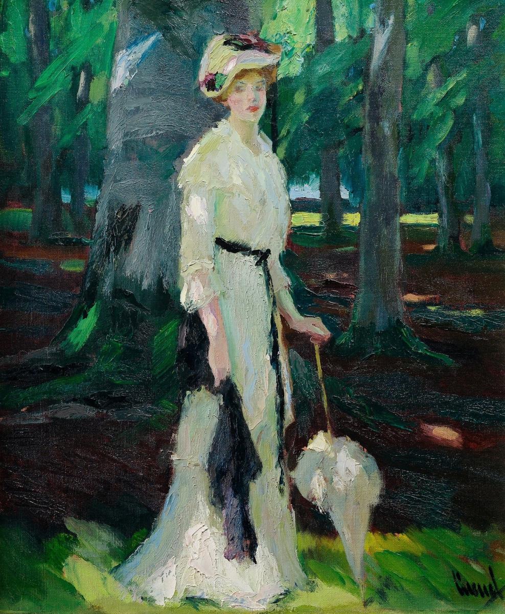 Edward Cucouel. Forest walk. Around 1920