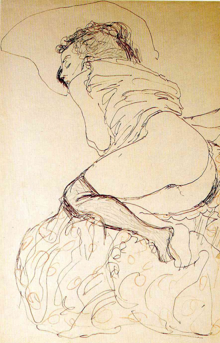 Густав Климт. Лежащая полуобнаженная