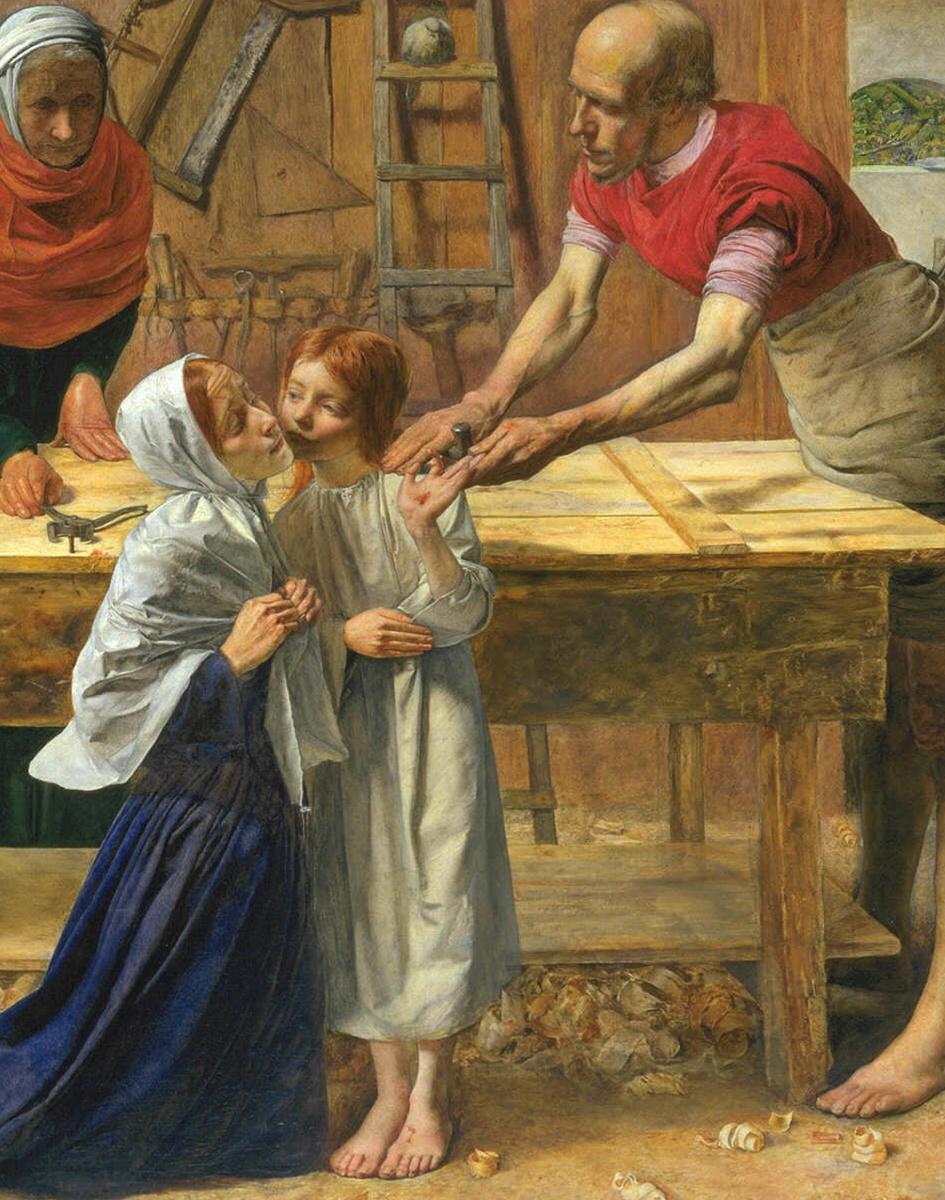 Джон Эверетт Милле. Христос в доме своих родителей. Фрагмент. Символы распятия