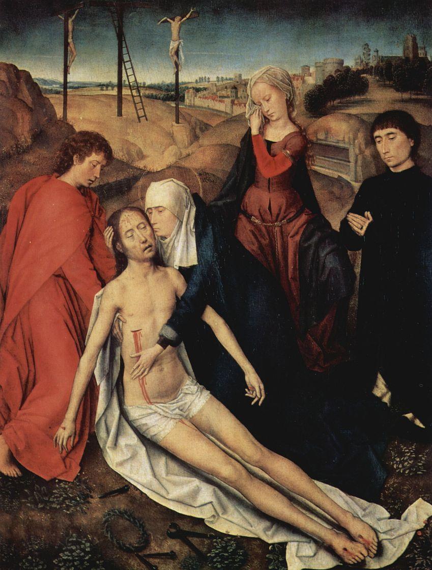 Ганс Мемлинг. Оплакивание Христа, с донатором