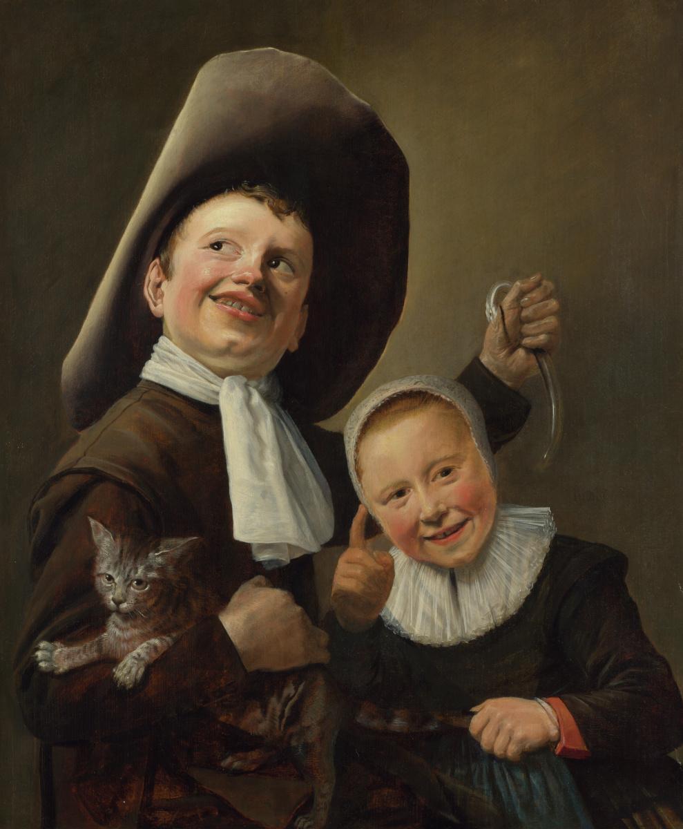 Юдит Лейстер. Мальчик и девочка с кошкой и угрем