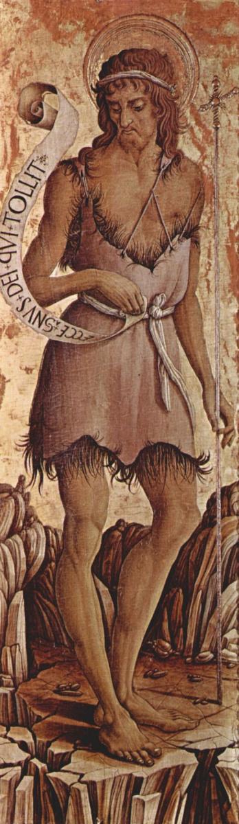 Карло Кривелли. Святой Иоанн Креститель. Алтарь из церкви Сан Сильвестро в Масса Фермана, крайняя левая доска