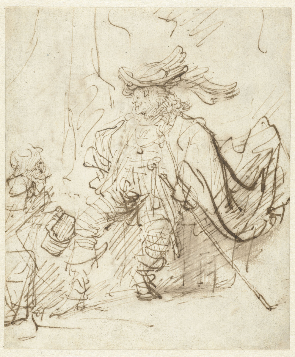 Rembrandt Harmenszoon van Rijn. Seated Actor in the Role of Capitano
