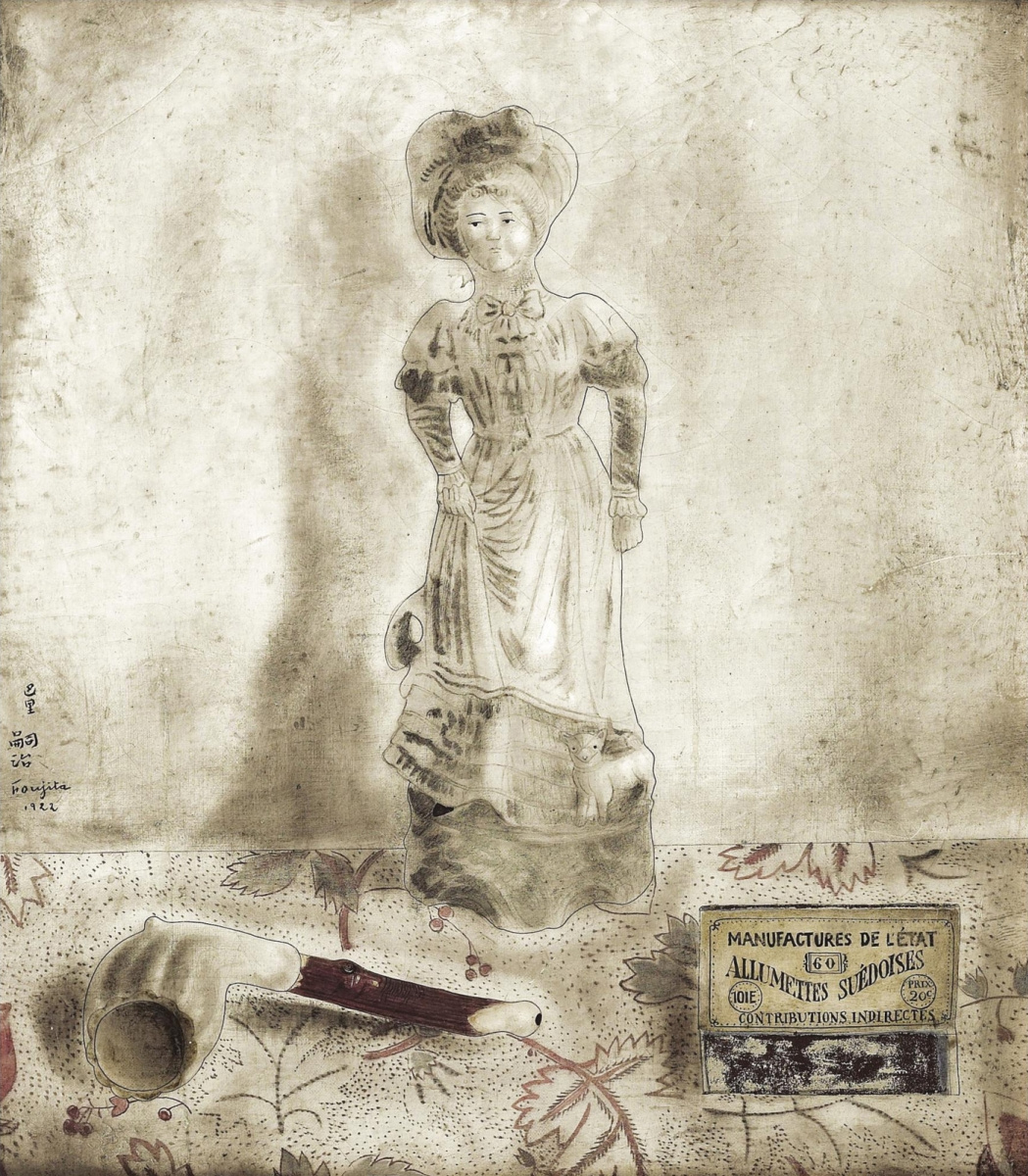 Цугухару Фудзита ( Леонар Фужита ). Still-life with a porcelain figurine