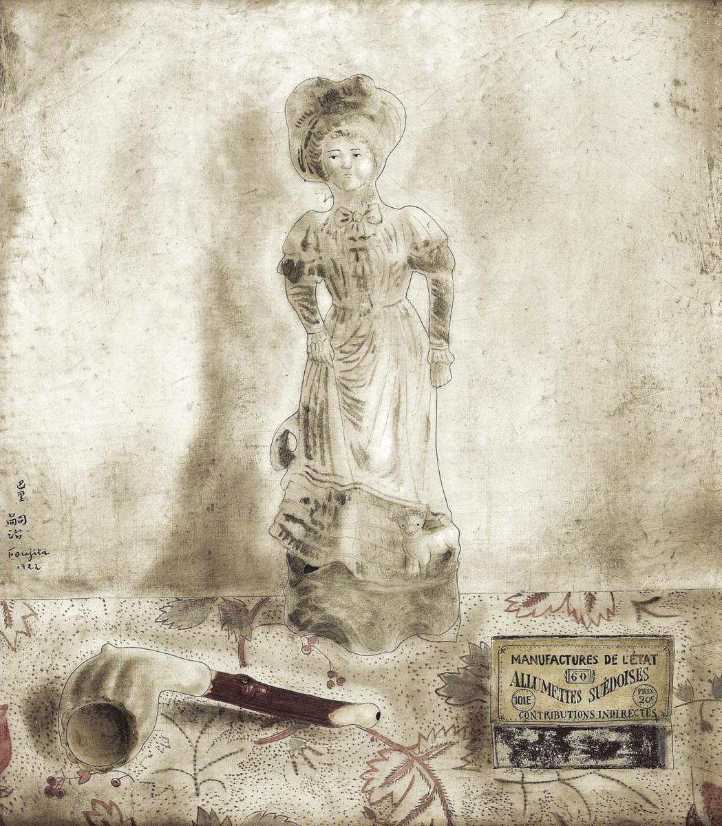 Цугухару Фудзита (Леонар Фужита). Натюрморт с фарфоровой статуэткой