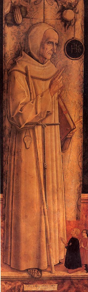 Карло Кривелли. Святой Иаков из Марке с двумя коленопреклоненными донаторами