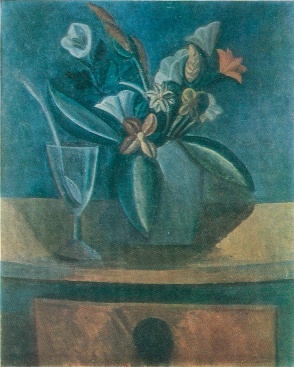 Пабло Пикассо. Букет цветов в сером кувшине и бокал с ложкой