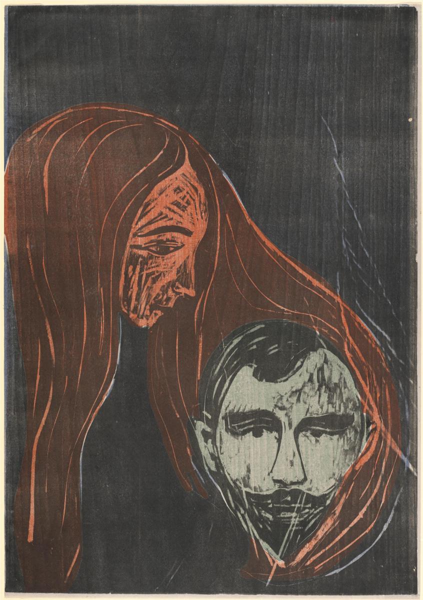 Edward Munch. Male head in female hair