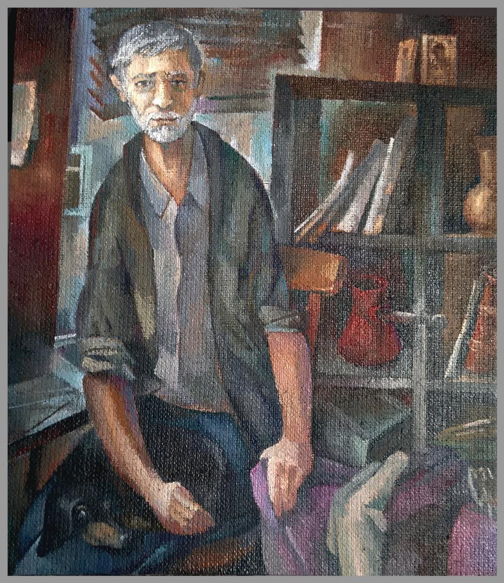 Sergei Yurievich Smilga. Self-portrait with a dog