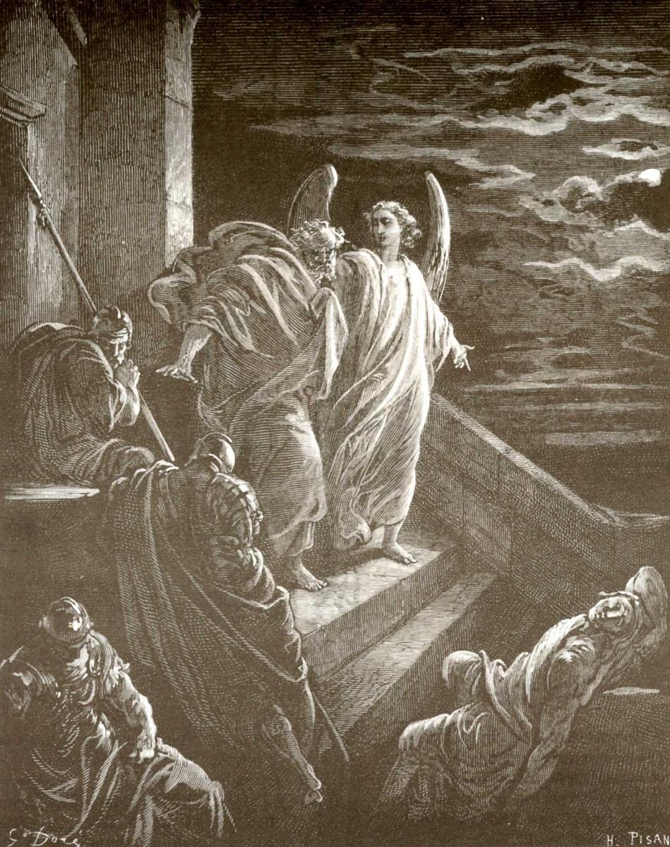 Поль Гюстав Доре. Иллюстрация к Библии: Освобождение апостола Петра из темницы