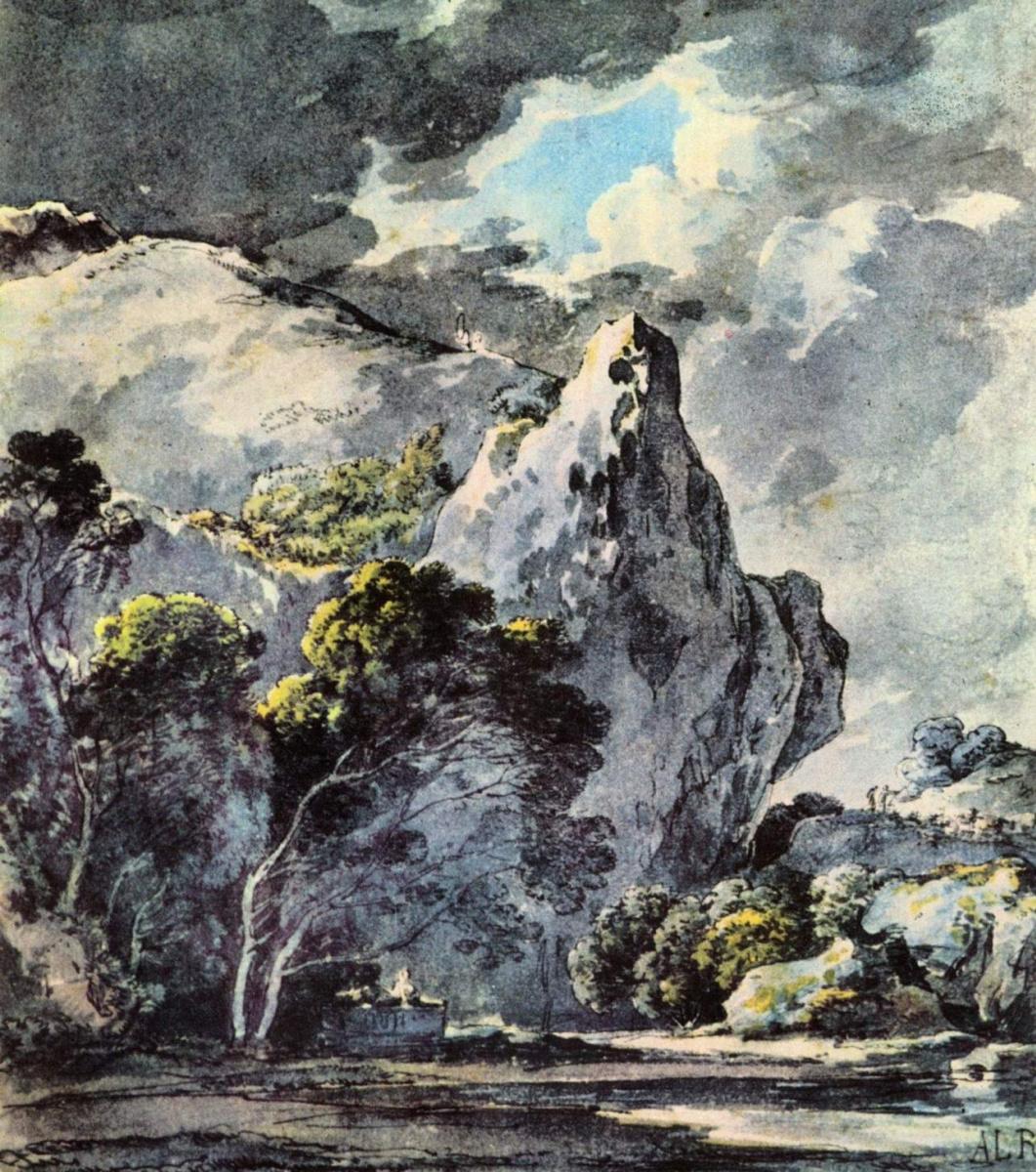 Адриан Людвиг Рихтер. Пейзаж со скалой