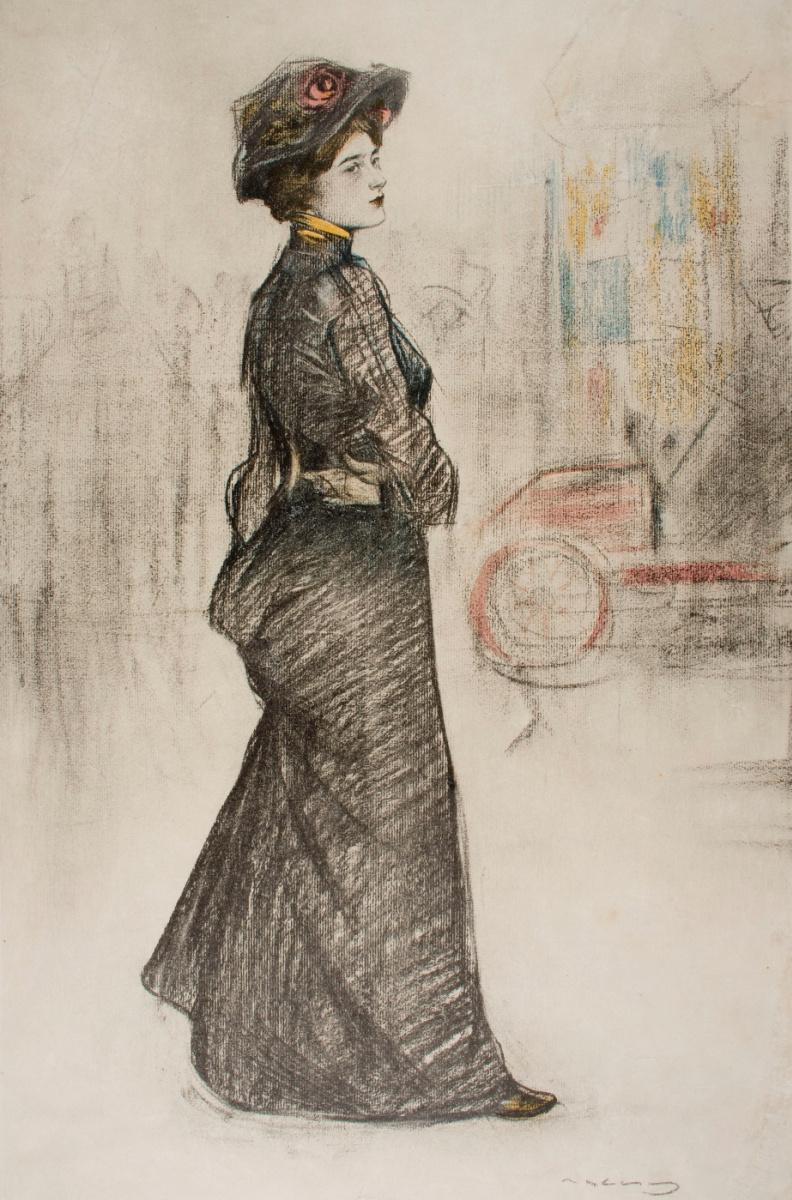 "Рамон Касас Карбо. Женщина на городской улице. Дизайн для журнала ""Pèl & Ploma"""