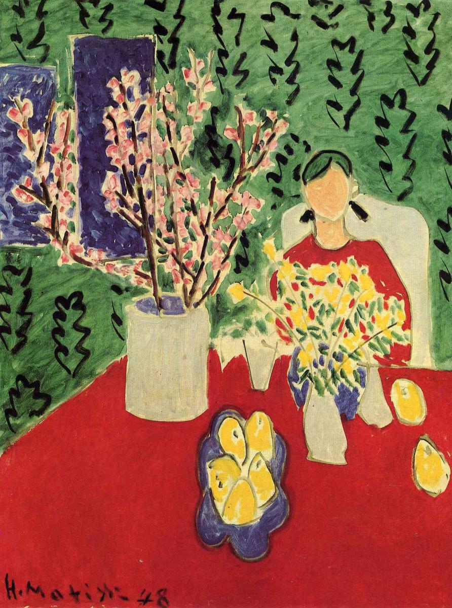 Анри Матисс. Цветы сливы, зеленый фон