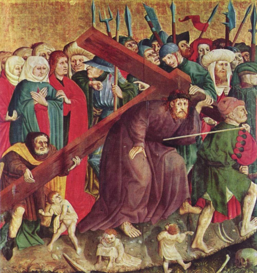 Hans Mulcher. Altarpiece of the Passion from Warzecha, left inner wing, scene below. The carrying of the cross