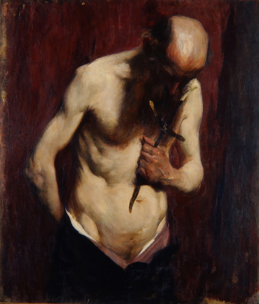 Anton Azhbe. Hermit. Portrait of an old man with a cross