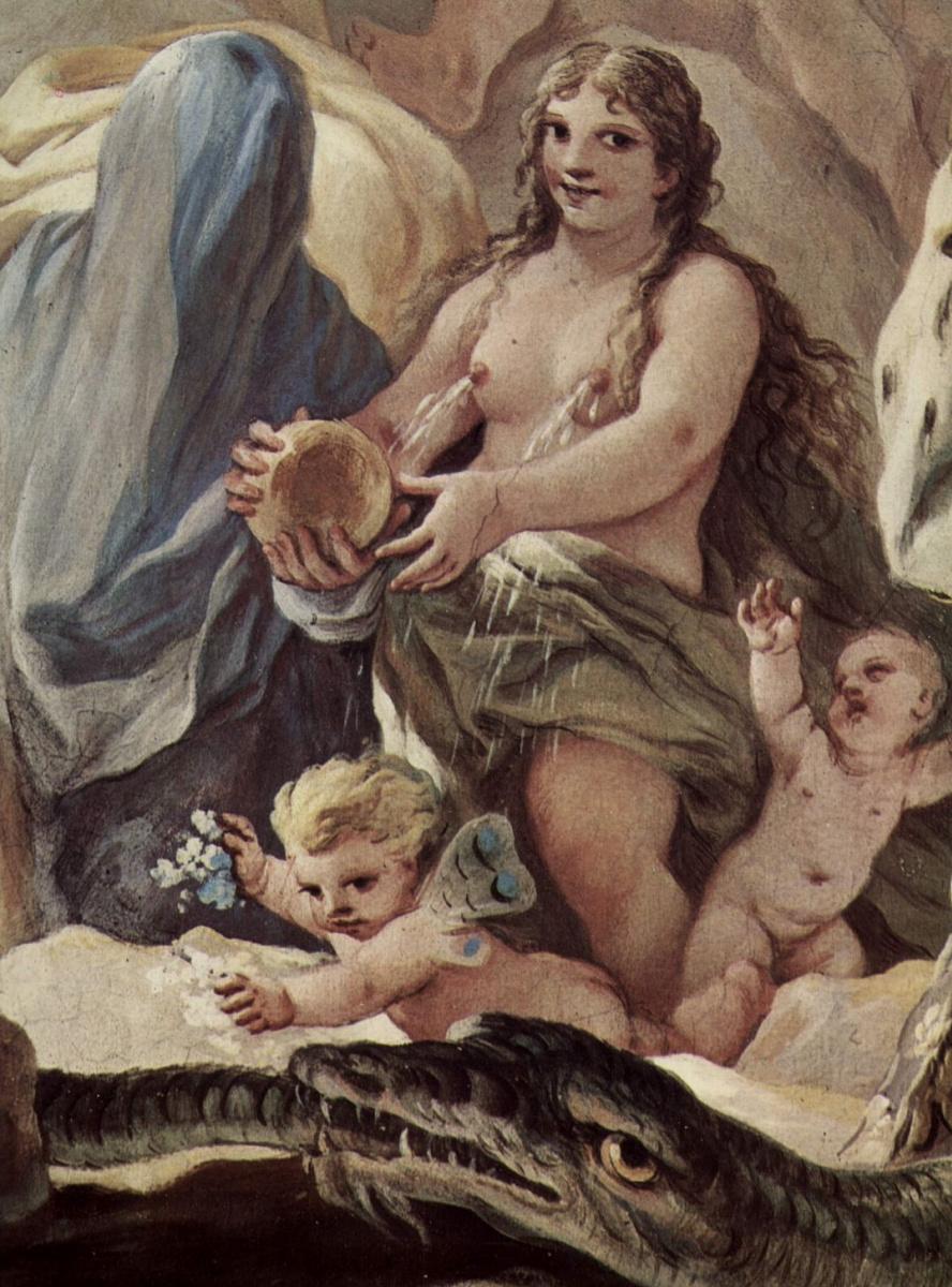 Лука Джордано. Фрески в галерее дворца Медичи-Риккарди во Флоренции. Сцена: Сотворение человека. Деталь