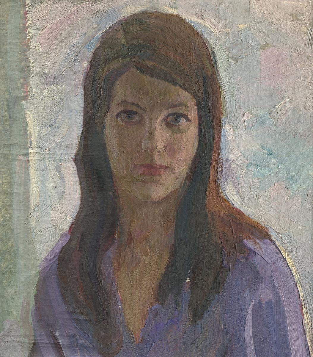 Alexandrovich Rudolf Pavlov. Portrait of a woman in a lilac dress.