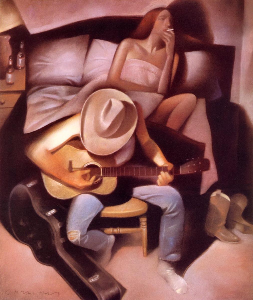 Гари Келли. Девушка в кровати и парень с гитарой