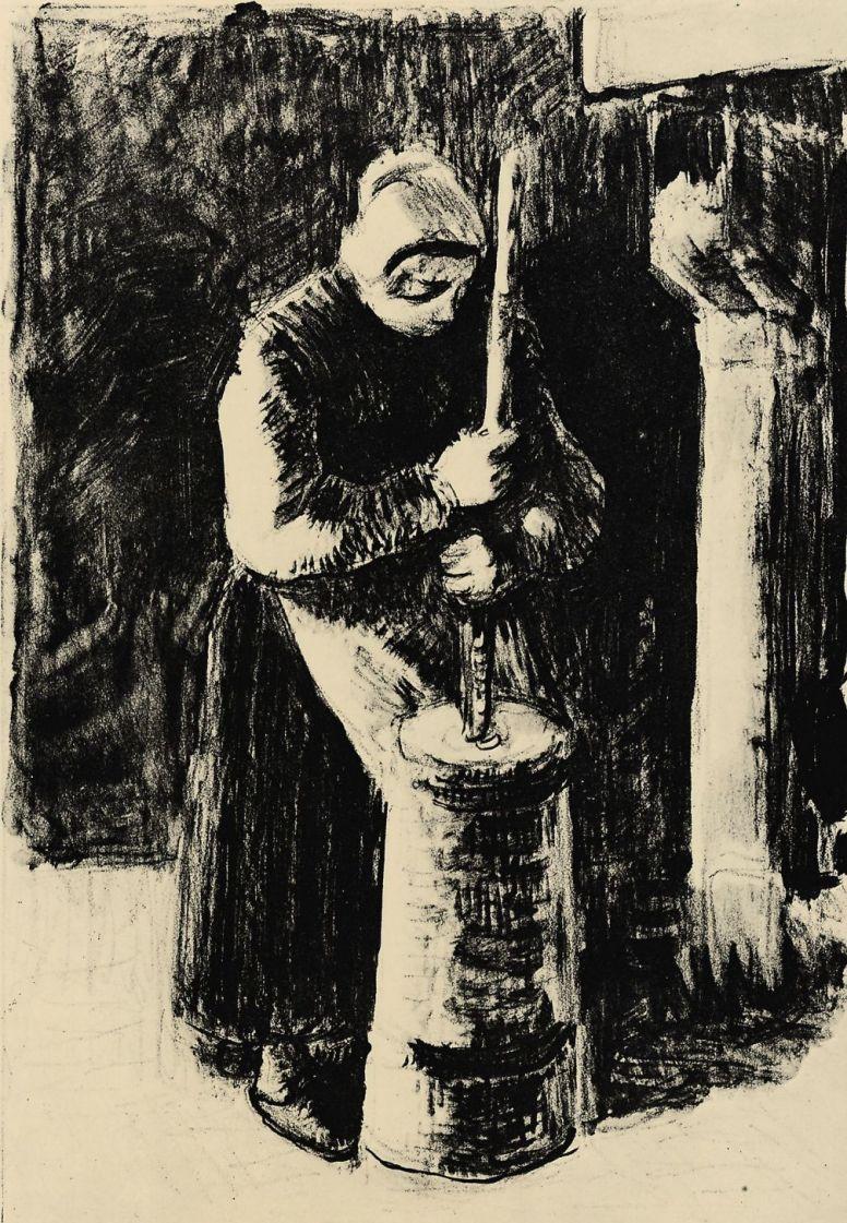 Камиль Писсарро. Крестьянка, сбивающая масло
