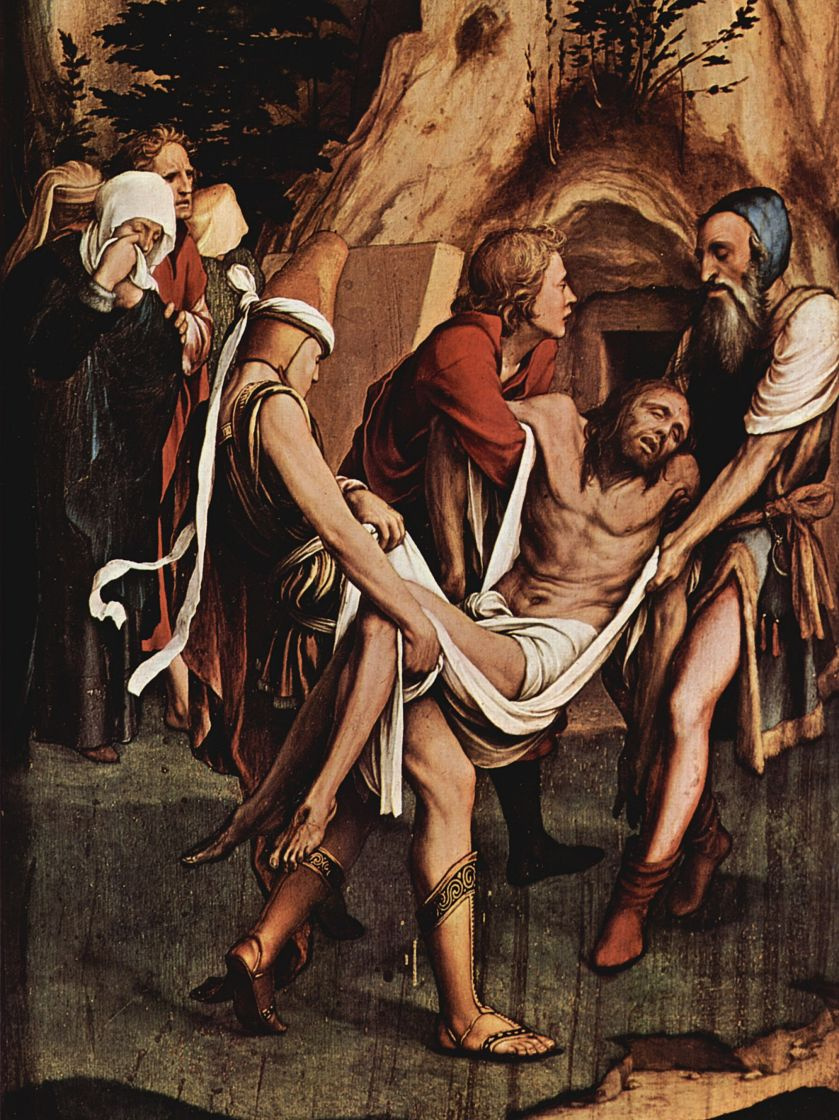 Ганс Гольбейн Младший. Алтарь Страстей Христовых, правая створка внешняя сторона, сцена внизу: Положение во гроб, деталь